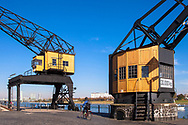 Europa, Deutschland, Koeln, alte Kraene im Rheinauhafen. - <br /> <br /> Europe, Germany, Cologne, old cranes at the Rheinau harbour.