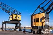 Europa, Deutschland, Koeln, alte Kraene im Rheinauhafen. - <br /> <br /> Europe, Germany, Cologne, old cranes at the Rheinau harbour.