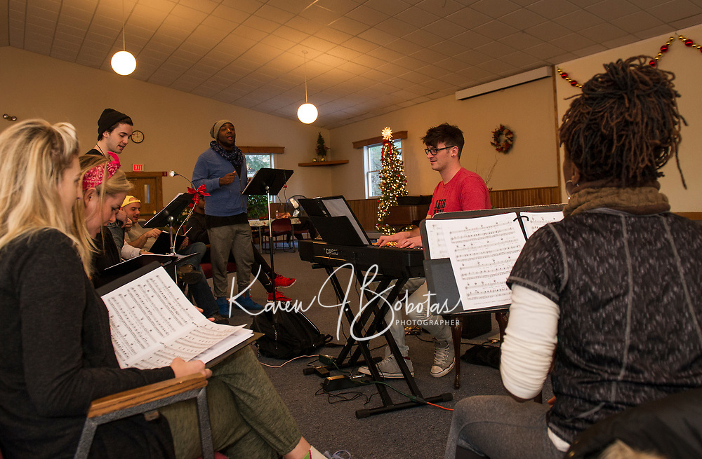 """Patrick Durow's tech session for """"Home for the Holidays"""" Christmas musical.  Karen Bobotas for the Laconia Daily Sun"""