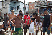 Young men guys on a rooftop dancing passinho to funk Carioca, Baile funk, Vila Valquiere, West Zone Zona Oueste, Rio de Janeiro