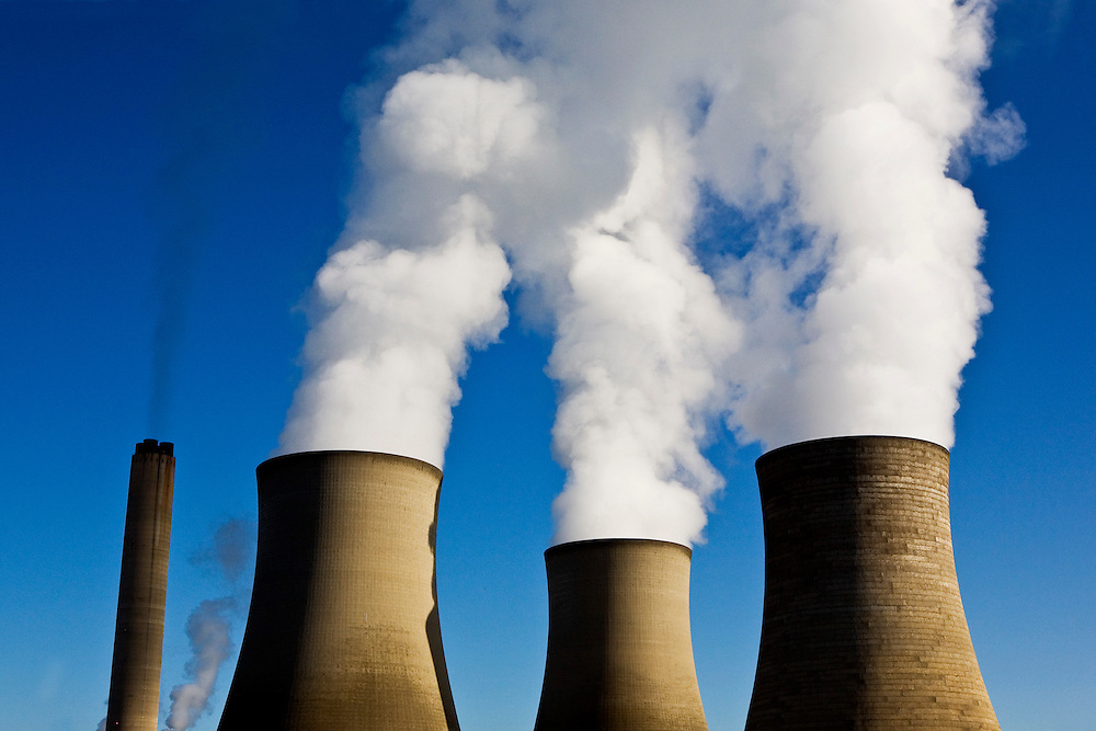 The 3 cooling towers at Didcot power station in Oxfordshire, UK. Didcot Power Station is a coal-fired station supplying electricity to the National Grid.