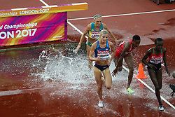 London, August 09 2017 . Celliphine Chepteek Chespol, Kenya and Emma Coburn, USA lead in the third heat of the women's 3,000m steeplechase on day six of the IAAF London 2017 world Championships at the London Stadium. © Paul Davey.