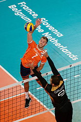21-09-2019 NED: EC Volleyball 2019 Netherlands - Germany, Apeldoorn<br /> 1/8 final EC Volleyball - Germany win 3-1 and goed to quarter final against Poland / Gijs Jorna #7 of Netherlands