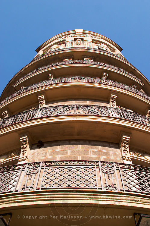 Classic apartment building with balconies. Barcelona, Catalonia, Spain.