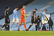 Manchester City midfielder Riyad Mahrez (26) walks off the pitch with the match ball after scoring a hatrick during the Premier League match between Manchester City and Burnley at the Etihad Stadium, Manchester, England on 28 November 2020.