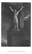 Solomon Eagle denouncing the City of London from the parapet of St. Paul's. Plague of London, 1665. Illustration by John Franklin (active 1800-1861) for William Harrison Ainsworth 'Old Saint Paul's', London 1855 (first published 1841). Engraving