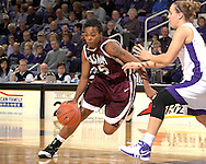 Texas A&M forward Danielle Gant (55) drives against pressure from Kansas State's Kimberly Dietz (R) in the first half at Bramlage Coliseum in Manhattan, Kansas, January 6, 2007.  K-State upset 17th ranked Texas A&M 48-45.