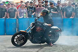 Unknown Industries perform stunts at the Civic Center during the 75th Annual Sturgis Black Hills Motorcycle Rally.  SD, USA.  August 7, 2015.  Photography ©2015 Michael Lichter.