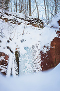 "Frozen waterfall over sandstone outcrop ""Ķiparu kaskāde"" on snowy winter day, Gauja National Park (Gaujas Nacionālais parks), Latvia Ⓒ Davis Ulands | davisulands.com"