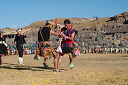 Inty Raymi. Third act. Archaeological site of Sachsayuaman. soldiers from two different suyos playng
