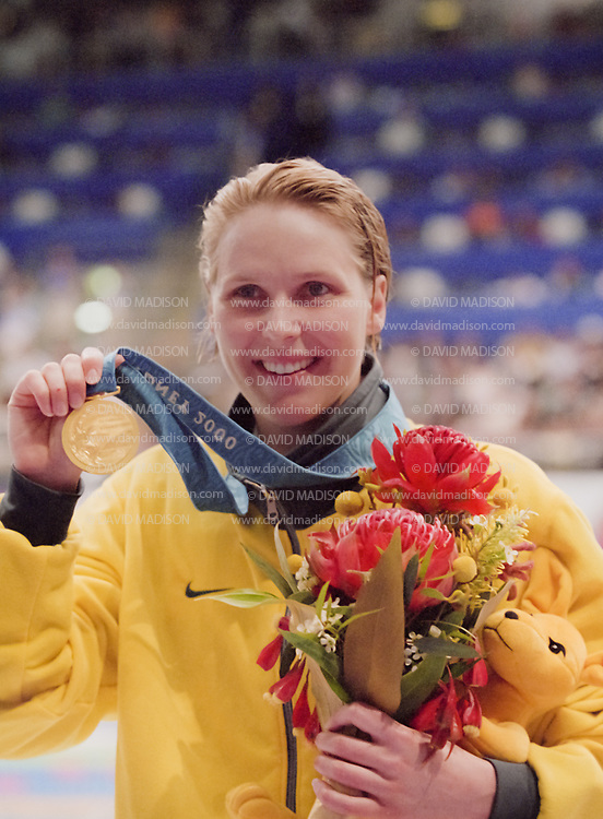 SYDNEY - SEPTEMBER 19:  Susie O'Neill of Australia celebrates her gold medal in the Women's 200 meter freestyle swimming event of the 2000 Olympic Games on September 19, 2000 at the Sydney International Aquatic Center in Sydney, Australia.  (Photo by David Madison/Getty Images)