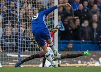 Football - 2016/2017 Premier League - Chelsea V Manchester United<br /> <br /> Eric Bailly of Manchester United spreads himself to block the shot of Diego Costa of Chelsea at Stamford Bridge.<br /> <br /> COLORSPORT/DANIEL BEARHAM
