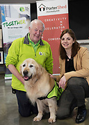 13/02/2018   Repro Free:  Frank Downes and Gallagher from the Irish Guide Dogs with Niamh Grealish Athenry from Junior achievement Ireland at the Portershed who hosted a Pancake Tuesday Morning in aid of the Irish Guide Dogs . Photo: Andrew Downes