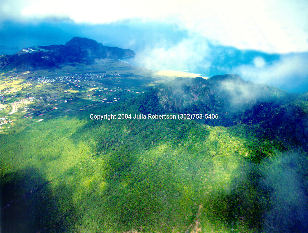 Aerial photograph of the Quill on The island of St. Eustatius, Nethterland, Antilles