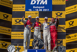 June 18, 2017 - MogyoróD, Hungary - 1st René Rast, 2nd Mattias Ekström and 3rd Maxime Martin standing on the podium after the Hungarian DTM race on June 18, 2017 in Mogyoród, Hungary. (Credit Image: © Robert Szaniszlo/NurPhoto via ZUMA Press)