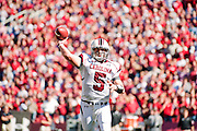 South Carolina quarterback Stephen Garcia throws a pass during an NCAA college football game against Arkansas on Saturday, Nov. 7, 2009, in Fayetteville, Ark.