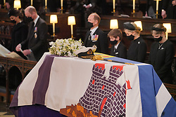 Mourners, including, front row, from left, the Duchess of Cambridge, the Duke of Cambridge, the Earl of Wessex, Viscount Severn, Lady Louise Mountbatten-Windsor, and the Countess of Wessex, during the funeral of the Duke of Edinburgh at St George's Chapel, Windsor Castle, Berkshire. Picture date: Saturday April 17, 2021.