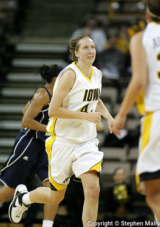 28 NOVEMBER 2007: Iowa center Megan Skouby (44) looks up at the scoreboard in the second half of Georgia Tech's 76-57 win over Iowa in the Big Ten/ACC Challenge at Carver-Hawkeye Arena in Iowa City, Iowa on November 28, 2007.