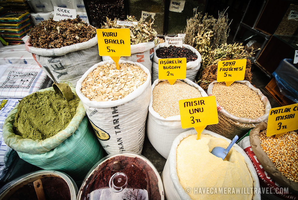 A range of spices available for sale next to the famous Spice Bazaar (also known as the Egyption Bazaar) in Istanbul, Turkey.