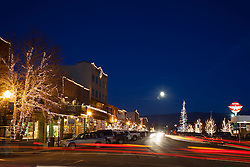 """""""Moon Over Truckee 4"""" - Photograph of a moon rising over Truckee at night."""