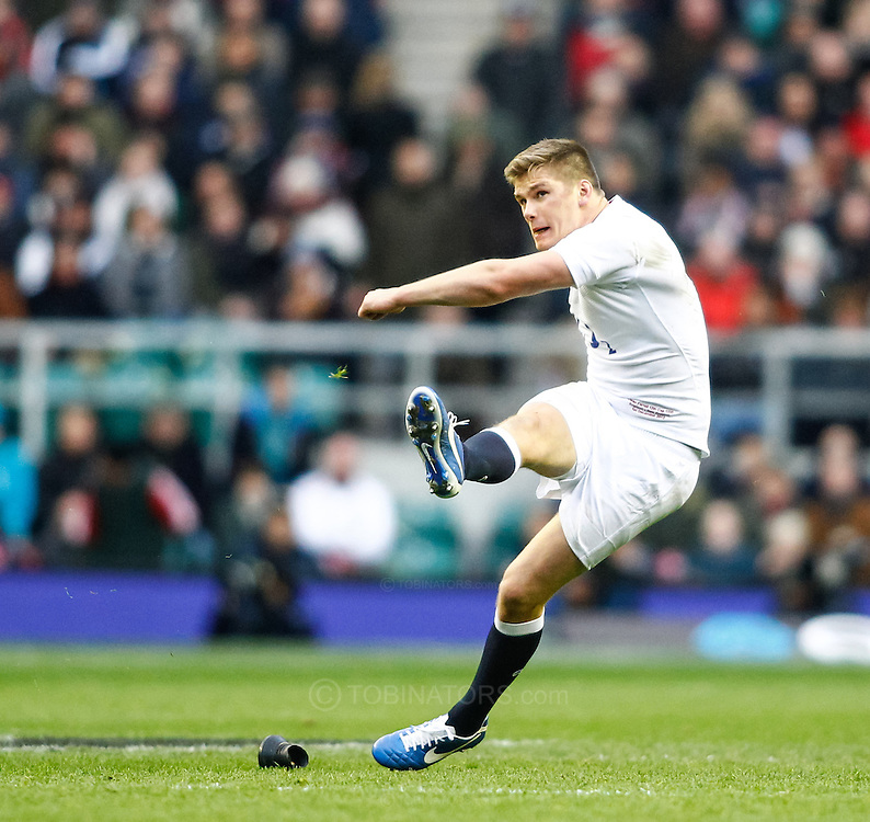 Picture by Andrew Tobin/SLIK images +44 7710 761829. 2nd December 2012. Owen Farrell of England kicks a penalty during the QBE Internationals match between England and the New Zealand All Blacks at Twickenham Stadium, London, England. England won the game 38-21.