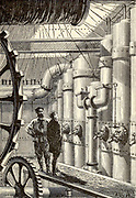 The engine-room of the Nautilus From the Book Twenty thousand leagues under the seas, or, The marvelous and exciting adventures of Pierre Aronnax, Conseil his servant, and Ned Land, a Canadian harpooner by Verne, Jules, 1828-1905 Published in Boston by J.R. Osgood in 1875