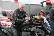 NO FEE PICTURES.5/5/13 On Saturday May 4th, the 8th Annual Rev-up4DSI motorcycle challenge in aid of Down Syndrome Ireland departed Joe Duffy BMW in Dublin, bound for Donegal. Pictured is 73 year old Ian Halliday, East Kilbride, Scotland Picture:Arthur Carron Photography
