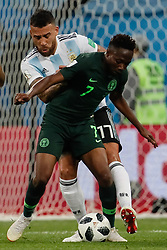 June 26, 2018 - Saint Petersburg, Russia - Ahmed Musa (in front) of Nigeria national team and Nicolas Otamendi of Argentina national team vie for the ball during the 2018 FIFA World Cup Russia group D match between Nigeria and Argentina on June 26, 2018 at Saint Petersburg Stadium in Saint Petersburg, Russia. (Credit Image: © Mike Kireev/NurPhoto via ZUMA Press)