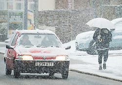 © Licensed to London News Pictures. 27/02/2020. Stokenchurch, UK. Heavy snowfall in Stokenchurch, Buckinghamshire, England, as the south east is hit by snow for the first time in 2020. Large parts of the UK are experiencing heavy flooding with flood barriers being breached in worst hit areas. Photo credit: Ben Cawthra/LNP