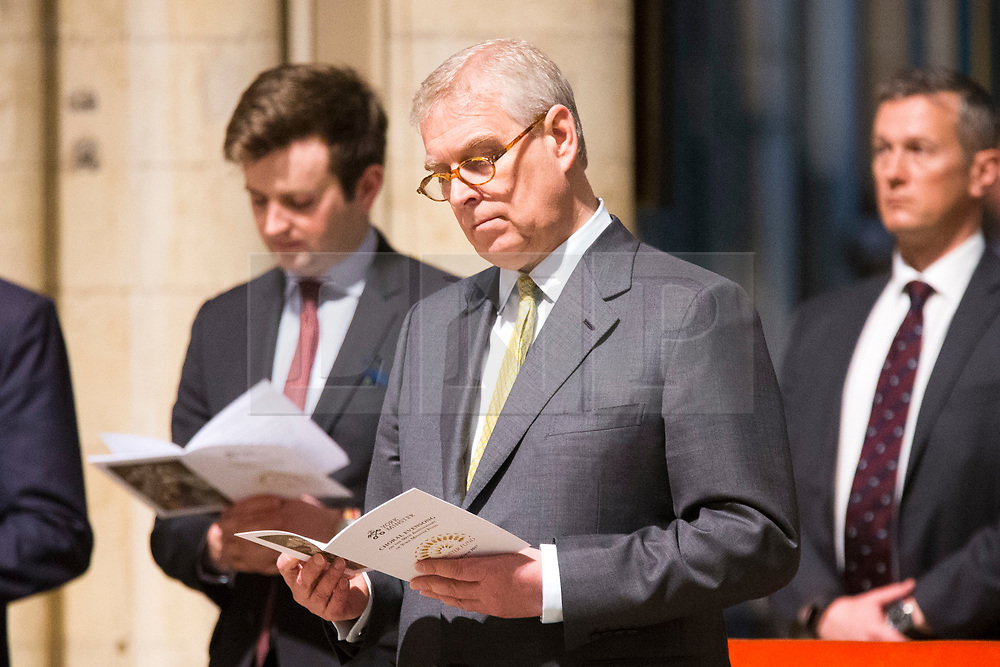 © Licensed to London News Pictures. 29/03/2017. York UK. His Royal Highness Prince Andrew The Duke of York attending a service to mark 50th anniversary of the York Minster Fund. The York Minster Fund was established as a charitable foundation by Roger, Earl of Scarbrough, on the 3 April 1967, with its first task to raise funds for work to underpin the tower. the Photo credit: Andrew McCaren/LNP