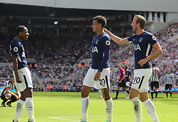 13 August 2017  : Premier League Football : Newcastle United v Tottenham Hotspur:  Tottenham goalscorer Dele Alli (20) celebrates his goal with Kyle Walker-Peters (left) and Harry Kane: Photo: Mark Leech