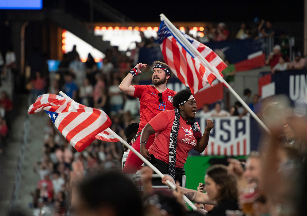 Texas fans show their support as the US Women's National Team (USWNT) beats Nigeria, 2-0 in the inaugural match of Austin's new Q2 Stadium. The U.S. women's team, an Olympic favorite, is wrapping up a series of summer matches to prep for the Tokyo Games.