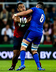 Billy Vunipola of England is tackled by Sebastian Negri of Italy - Mandatory by-line: Robbie Stephenson/JMP - 06/09/2019 - RUGBY - St James's Park - Newcastle, England - England v Italy - Quilter Internationals