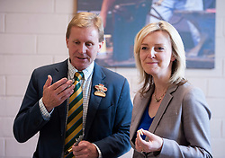 © Licensed to London News Pictures. 28/05/2015. Shepton Mallet, Somerset, UK.  Liz Truss Secretary of State for DEFRA, samples cheese at the Royal Bath & West Show, the biggest annual farming show in England. She is urging cheese producers to go for protected status for cheese to compete with continental Europe, to make the UK the world's number one cheese destination ahead of France and Italy.  Photo credit : Simon Chapman/LNP