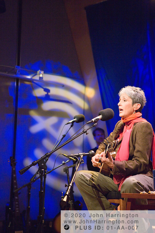 """American folk singer and songwriter Joan Baez performs at XM on Monday October 24, 2005.  Baez was there as part of XM's """"Artist Confidential"""" series."""