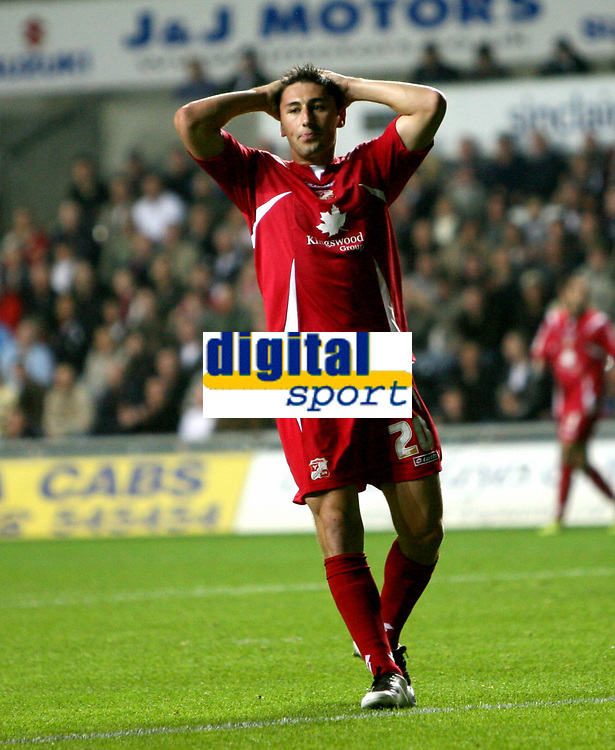 Photo: James Davies.<br />Swansea City v Swindon Town. Coca Cola League 1. 02/10/2007. <br />Swindon`s Billy Paynter, frustrated at missing shot on goal.
