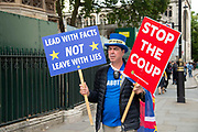 Steve Bray of pro remain campaign group SODEM on the day after Parliament voted to take control of Parliamentary proceedings and prior to a vote on a bill to prevent the UK leaving the EU without a deal at the end of October, on 5th September 2019 in London, United Kingdom. Prime Minister Boris Johnson has insisted Britain will leave the European Union on October 31 2019, despite a defeat in the House of Commons at the hands of MPs from across political partys.