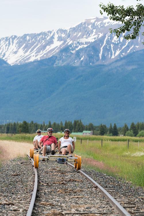 Peddling a rail bike in the Wallowa Valley, Oregon.