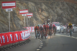 March 1, 2019 - Jebel Jais, United Arab Emirates - The Red Jersey, Primoz Roglic (Left) of Slovenia and Team Jumbo - Visma, challenged by Dan Martin (Center) and Tom Dumoulin (Right) on his way to win the sixth Rak Properties Stage of UAE Tour 2019, a 180km with a start from Ajman and finish in Jebel Jais. .On Friday, March 1, 2019, in Jebel Jais, Ras Al Khaimah Emirate, United Arab Emirates. (Credit Image: © Artur Widak/NurPhoto via ZUMA Press)
