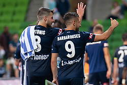 January 26, 2019 - Melbourne, VIC, U.S. - MELBOURNE, AUSTRALIA - JANUARY 26: Melbourne Victory forward Kosta Barbarouses (9) and Melbourne Victory midfielder Terry Antonis (8) gestures to fans at the Hyundai A-League Round 16 soccer match between Melbourne Victory and Sydney FC on January 26, 2019, at AAMI Park in VIC, Australia. (Photo by Speed Media/Icon Sportswire) (Credit Image: © Speed Media/Icon SMI via ZUMA Press)
