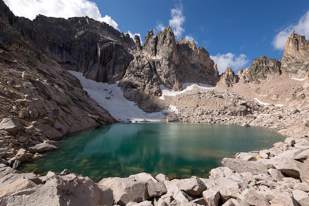 Alpine lake in a cirque high in Idaho's Sawtooth Mountains.