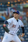 Durham Bulls pitcher Blake Snell (31) delivers a pitch from the windup during the MiLB International Championship baseball game against the Columbus Clippers, Thursday, September 12, 2019, in Durham, N.C. The Clippers beat the Bulls 6-2 to complete a three-game sweep of the two-time defending champion. (Brian Villanueva/Image of Sport)