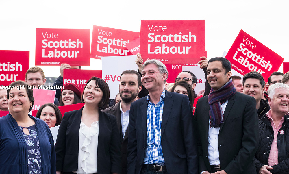 Rutherglen, Scotland, United Kingdom. 19 November, 2017. Scottish Labour Party MSPs, MPs and activists celebrate with their new Leader, Richard Leonard at Fernhill Community Centre in Rutherglen. Richard Leonard beat fellow MSP Anas Anwar for the Leadership. Seen here from left with Jackie Baillie, Monica Lennon and Anas Anwar.