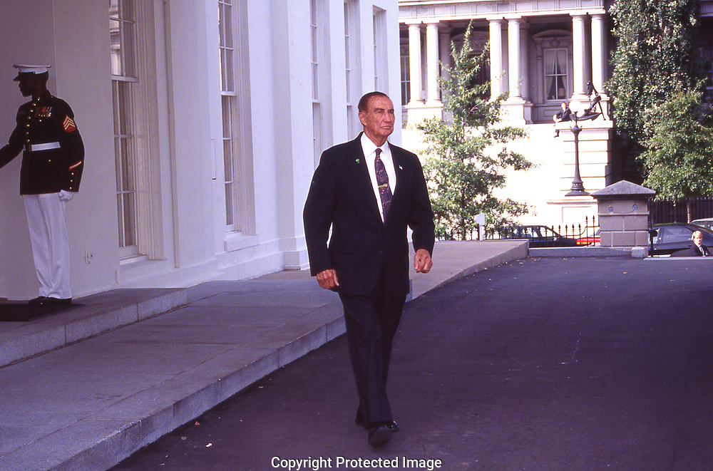 Strom Thurmond  leaves tghe White House<br /><br />Photograph ny Dennis Brack. bb78