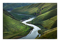 View of John Day River cutting through basalt flows of Columbia Plateau in Sherman/Gilliam County, Oregon