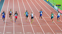 Athletics - 2017 IAAF London World Athletics Championships - Day Seven, Evening Session<br /> <br /> Mens 200m Final<br /> <br /> Ramil Guliyez (Turkey) leads the field across the line to become World Champion at the London Stadium<br /> <br /> COLORSPORT/DANIEL BEARHAM