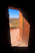 Looking out the door of the west cabin across Antelope Valley, Pipe Spring National Monument, Arizona