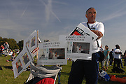 London 20/09/08: The People's March against knife crime: Tributes to murder vicitm Jason Lewis rest in a push chair