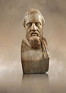 Roman marble sculpture bust of Herodotus, 3rd Century AD from an original early 4th century BC Hellanistic Greek original, inv 6146, Naples Museum of Archaeology, Italy ..<br /> <br /> If you prefer to buy from our ALAMY STOCK LIBRARY page at https://www.alamy.com/portfolio/paul-williams-funkystock/greco-roman-sculptures.html . Type -    Naples    - into LOWER SEARCH WITHIN GALLERY box - Refine search by adding a subject, place, background colour, museum etc.<br /> <br /> Visit our ROMAN WORLD PHOTO COLLECTIONS for more photos to download or buy as wall art prints https://funkystock.photoshelter.com/gallery-collection/The-Romans-Art-Artefacts-Antiquities-Historic-Sites-Pictures-Images/C0000r2uLJJo9_s0