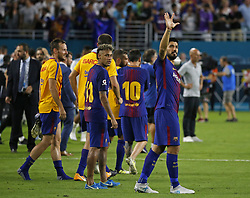 Barcelona forward Luis Suarez greets the fans after a 3-2 win against Real Madrid in International Champions Cup play on Saturday, July 29, 2017, at Hard Rock Stadium in Miami Gardens, FL, USA. Photo by David Santiago/El Nuevo Herald/TNS/ABACAPRESS.COM